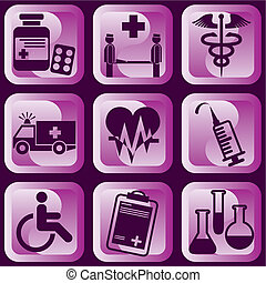 medical signs - set of vector icons of medical symbols and...