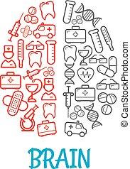 Medical sketch icons shaped as human brain symbol