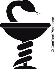 Medical snake cup icon, simple style - Medical snake cup ...