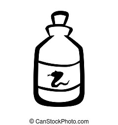Medical snake poison bottle icon, vector illustration. -...