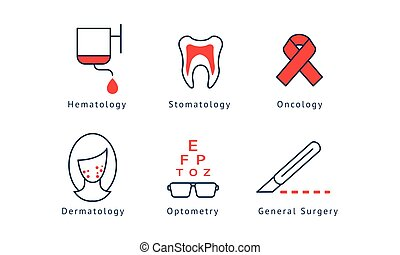 Medical specialization symbols set, hematology, dentistry, oncology, general surgery, optometry, dermatology vector Illustration on a white background