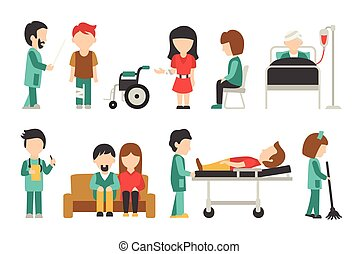 Medical Staff Flat, Isolated On White Background, Doctor, ...