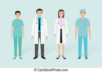 Medical staff group. Male and female doctors, nurse, medical orderly.