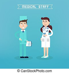 Medical Staff. Nurse and Doctor. Hospital Medical Team. Health Care. Medicine Professional. Medical Concept. Vector illustration