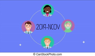 medical staff with covid19 animation
