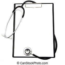 Medical stethoscope and blank clipboard