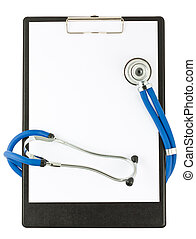 Medical stethoscope and empty clipboard