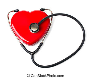 Medical stethoscope and heart isolated on white. With ...