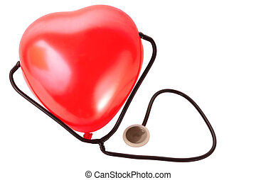 Medical stethoscope and red balloon heart isolated on white background