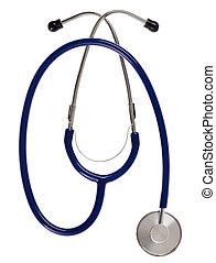 Medical stethoscope (blue) isolated on white