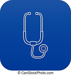 Medical stethoscope icon blue vector