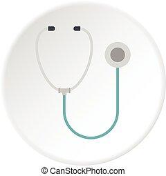Medical stethoscope icon circle