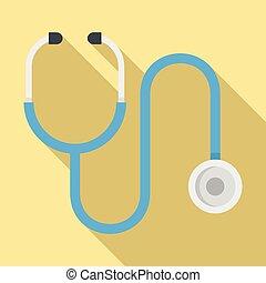 Medical stethoscope icon, flat style