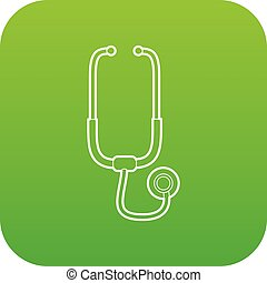 Medical stethoscope icon green vector