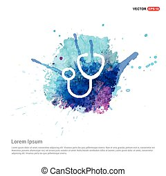 Medical stethoscope icon - Watercolor Background