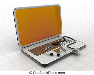 Medical stethoscope on a laptop computer , isolated white background