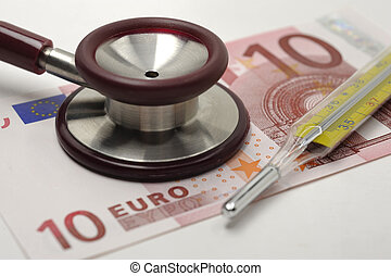 stethoscope on euro banknote - medical stethoscope on euro...