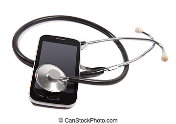 stethoscope on mobile phone - medical stethoscope on mobile...