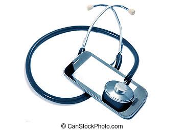 stethoscope on mobile phone