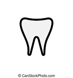 Medical stomatologic abstract aboriginal milk tooth, crown, denture, simple icon on a white background. Vector illustration