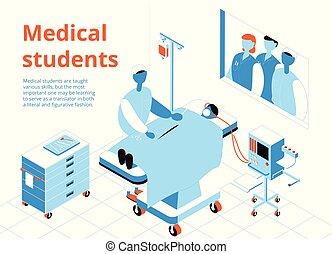 Medical Students Isometric Illustration