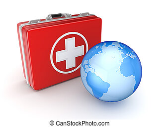 Medical suitcase and Earth.