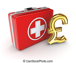 Medical suitcase and golden pound sterling sign.