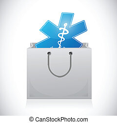 medical supplies on a box. illustration design
