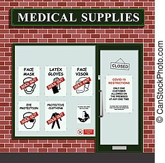 Medical supply shop sold out of stock due to high demand resulting from worldwide outbreak of the COVID 19 pandemic