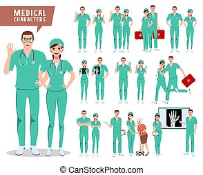 Medical surgeon vector character set. Doctor, nurse and hospital workers with various poses