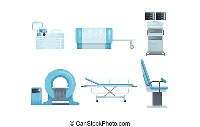 Medical Surgery and Examination Rooms Equipment with Scanner Monitor and Operating Table Vector Set