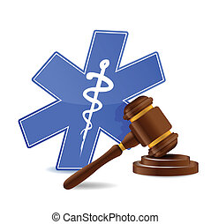 medical symbol and gavel illustration design over a white...