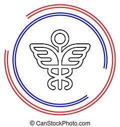 medical symbol - caduceus icon - health sig