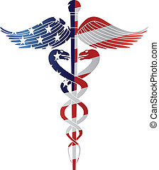 Caduceus Medical Symbol for Healthcare Reform with United States of America USA Flag in Silhouette Isolated on White Background Illustration