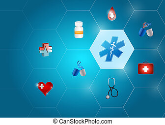 medical symbol diagram network of shapes