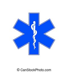 Medical symbol of Emergency - Star of Life. Vector