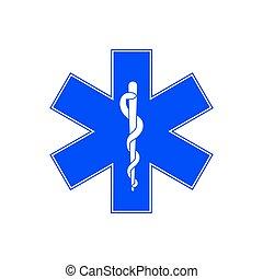 Medical symbol of Emergency - Star of Life. Vector