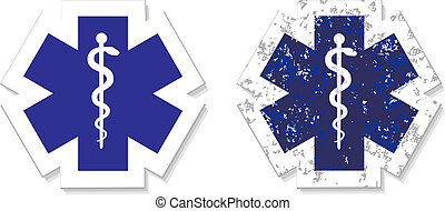 Medical symbol of the Emergency icon grunge sticker vector eps 10