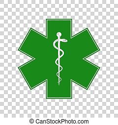 Medical symbol of the Emergency or Star of Life. Dark green icon on transparent background.