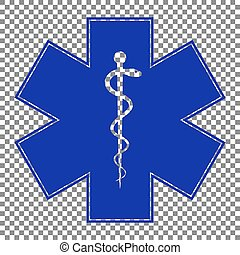 Medical symbol of the Emergency or Star of Life. Blue icon on tr