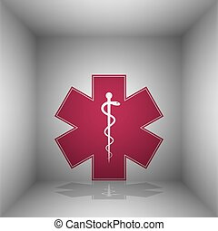 Medical symbol of the Emergency or Star of Life. Bordo icon with shadow in the room.
