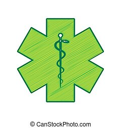 Medical symbol of the Emergency or Star of Life. Vector. Lemon scribble icon on white background. Isolated