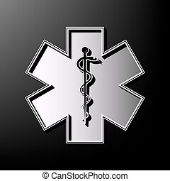 Medical symbol of the Emergency or Star of Life with border. Vector. Gray 3d printed icon on black background.