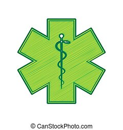Medical symbol of the Emergency or Star of Life with border. Vector. Lemon scribble icon on white background. Isolated