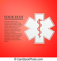 Medical symbol of the Emergency - Star of Life flat icon on orange background. Vector Illustration