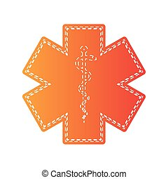Medical symbol of the Emergency. Star of Life. Orange applique isolated.