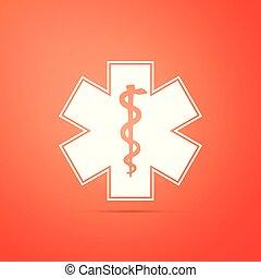 Medical symbol of the Emergency - Star of Life icon isolated on orange background. Flat design. Vector Illustration