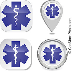 Medical symbol of the Emergency icon sticker button map...