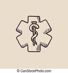 Medical symbol sketch icon.