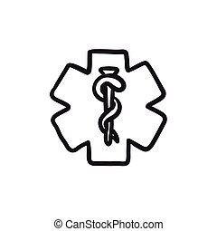 Medical symbol sketch icon.